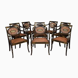 Antique English Regency Cane Armchairs, Set of 8