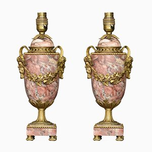 Louis XVI Style Gilt Brass Mounted Marble Lamps, Set of 2