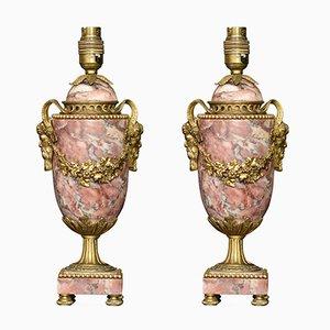 Marmorlampen aus vergoldetem Messing im Louis XVI-Stil, 2er Set