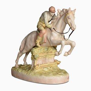 Vintage Porzellan-Figurine eines springenden Rennpferdes von Royal Dux