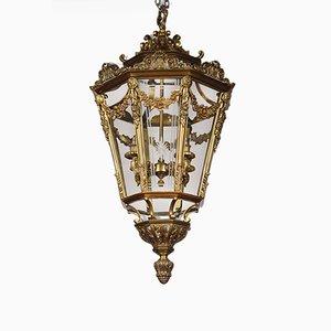 Lámpara colgante antigua grande octogonal de vidrio y latón con cuatro luces