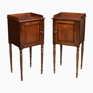Antique George III Mahogany Bedside Cupboards, Set of 2