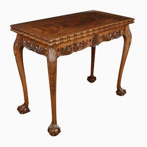 Table de Jeux Style Chippendale Antique en Acajou Sculpté