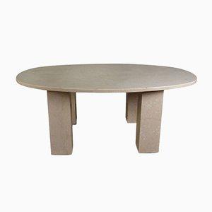 Großer antiker ovaler Esstisch aus Marmor