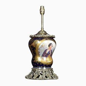 Antike französische Ormolu-Tischlampe im Sevres-Stil