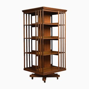 Large Antique Oak Revolving Bookcase