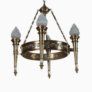 Lámpara de araña Art Déco de bronce