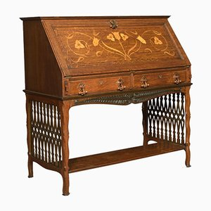 Antique Arts & Crafts Oak Secretaire