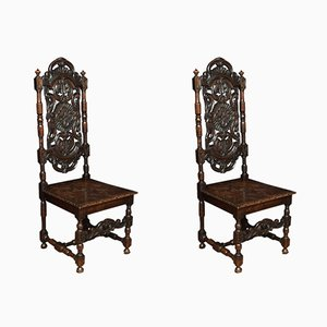 Victorian Jacobean Revival Carved Oak Side Chairs, Set of 2