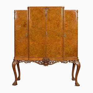 Large Vintage Burr Walnut Breakfront Cocktail Cabinet
