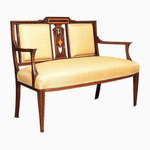 Antique Edwardian Mahogany & Satinwood Inlaid Settee