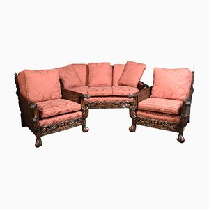 Edwardian Carved Mahogany Bergere Lounge Suite