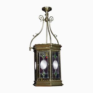 Antique Victorian Stained Glass Hall Lantern