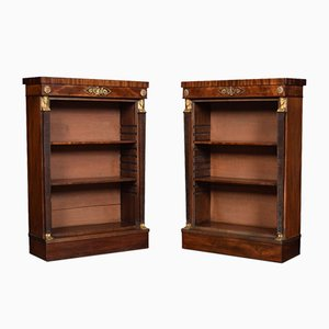 Antique Regency Mahogany Open Bookcases, Set of 2