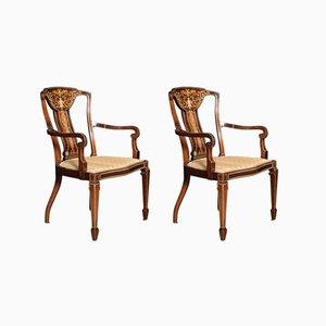 Edwardianische Beistellstühle aus Palisander mit Intarsien, 2er Set