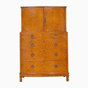 Antique Satinwood Bow Fronted Tallboy