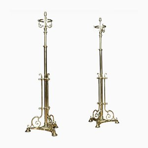 Antique Brass Telescopic Standard Lamps, Set of 2