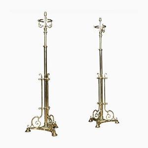 Lampes Standard Téléscopiques Antiques en Laiton, Set de 2