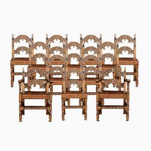 Chaises de Salle à Manger Antiques en Cuir et Chêne, Set de 12