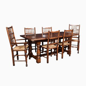 Vintage Solid Oak Refectory Dining Table and Chairs, Set of 7