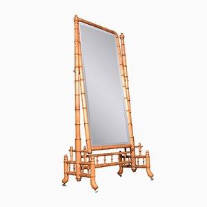 Großer antiker Cheval Spiegel aus Bambusimitat