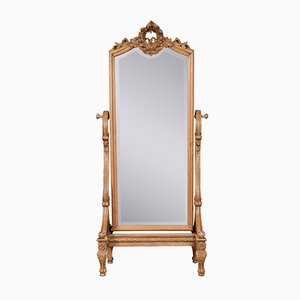 Antique Louis XVI Style Blonde Oak Cheval Mirror