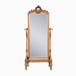 Miroir Cheval Style Louis XVI Antique en Chêne