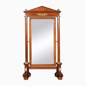 Antiker Cheval Spiegel aus Mahagoni im Empire-Stil