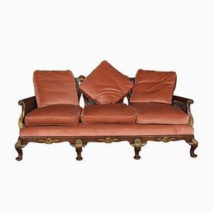 Antikes George I Bergere 3-Sitzer Sofa aus Nussholz