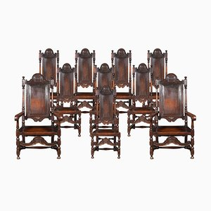 19th Century William and Mary Style High Back Dining Chairs Set