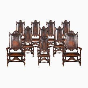 Esszimmerstühle mit hohen Rückenlehnen im William & Mary Stil, 19. Jh.