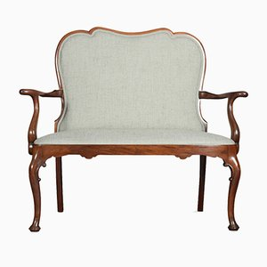 Antique Queen Anne Style Mahogany Two-Seater Settee
