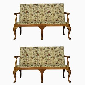 Antique Walnut Framed Queen Anne Style Settees, Set of 2