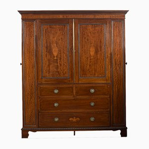 Antique Sheraton Revival Mahogany Inlaid Wardrobe