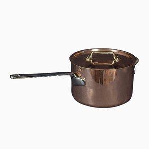 Große Kochtopf und Deckel aus Kupfer