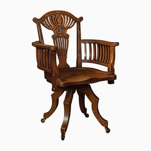 Sedia da scrivania antica in quercia