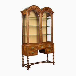 Antique Queen Ann Style Walnut Display Cabinet