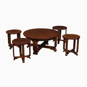 Mesas auxiliares o taburetes Art Déco redondas. Juego de 5
