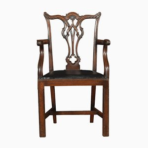 Antique Chippendale Style Mahogany Armchairs, Set of 2