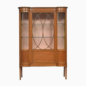 Antique Edwardian Inlaid Satinwood Display Cabinet