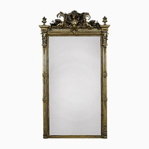 Miroir Style Rococo Antique en Bois Doré