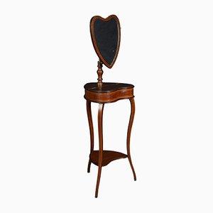 Mesa de afeitar Sheraton estilo antigua de caoba con espejo