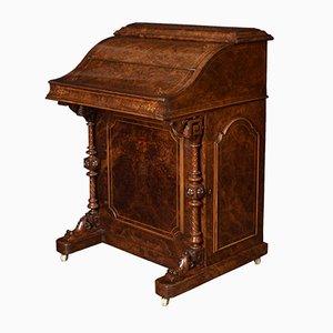 Escritorio Davenport victoriano de madera nudosa de nogal, década de 1850