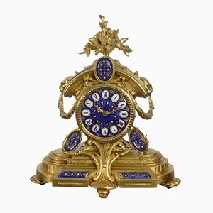 Gilt Metal & Enameled Mantle Clock, 1870s