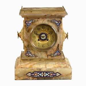French Onyx & Champleve Mantle Clock, 1880s
