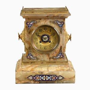 Horloge de Cheminée en Onyx et Champlevé, France, 1880s