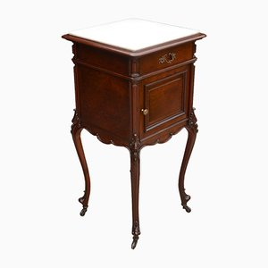 Mahogany and Marble Top Bedside Cabinet, 1900s