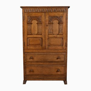 Carved Solid Oak Cabinet, 1920s