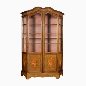 Antique Walnut Inlaid Display Cabinet