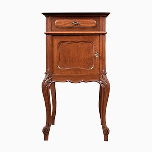 Antique Oak & Marble Top Bedside Cabinets, Set of 2